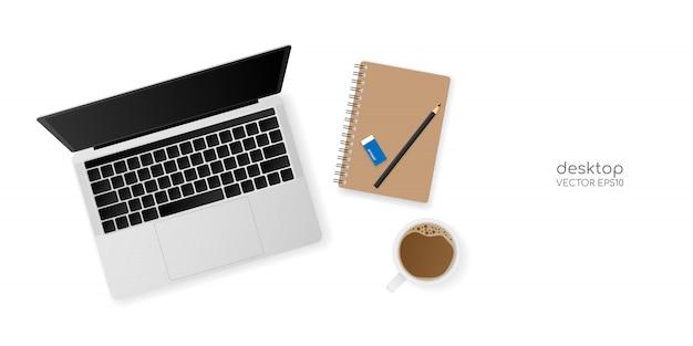 Mesa de escritório vista superior com computador portátil, caderno, lápis e um copo Vetor Premium