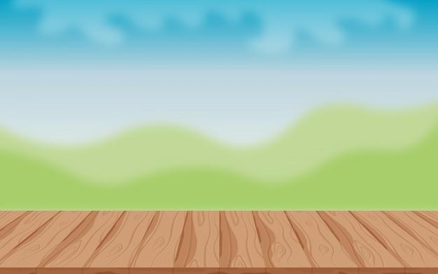 Mesa de madeira no fundo ao ar livre Vetor Premium