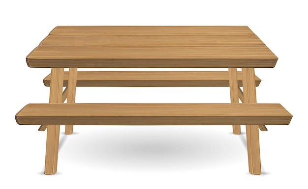 Mesa de madeira piquenique em um fundo branco Vetor Premium