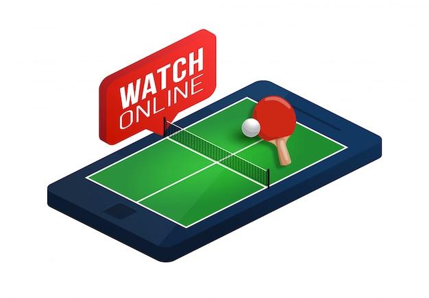 Mesa de pingue-pongue na ilustração isométrica do conceito on-line da tela do telefone. conceito isométrico de tênis de mesa online. Vetor Premium