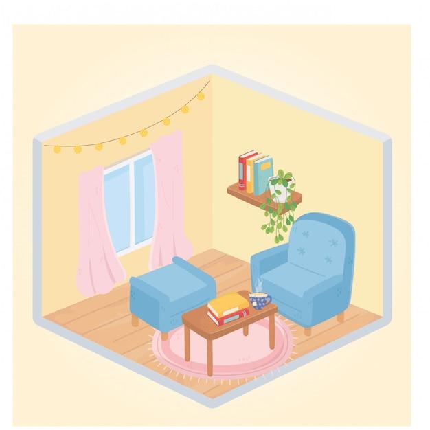 Mesa de poltrona em casa doce poltrona com livros e xícara de café Vetor Premium