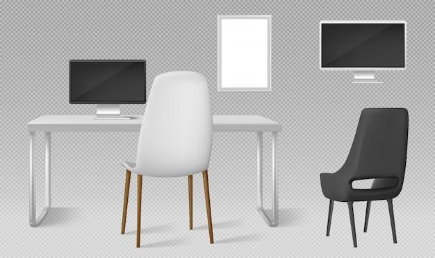 Mesa, monitor, cadeiras e moldura em branco isolada. conjunto realista de vetor de mobiliário moderno, mesa, cadeira e tela do computador para o local de trabalho no escritório ou em casa Vetor grátis
