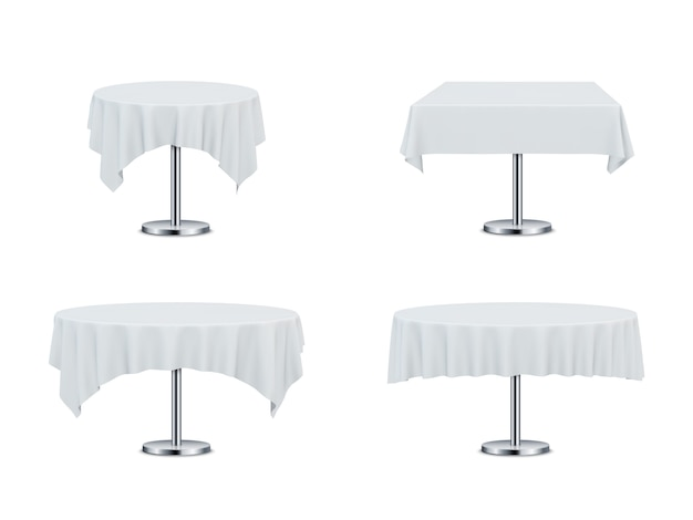 Mesas de restaurante com toalhas de mesa. Vetor Premium