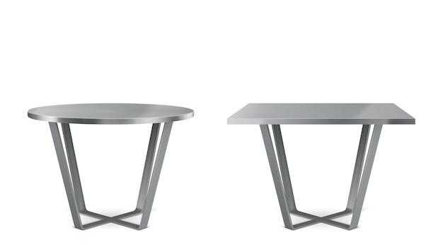Mesas modernas de metal com tampo redondo e quadrado Vetor grátis