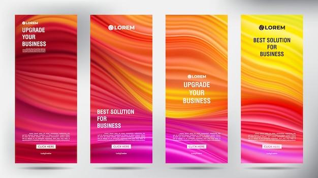 Mesh color flow enrola o modelo vertical. conjunto de design de modelo de suporte de banner enrolável Vetor Premium