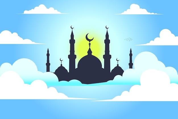Mesquita com céu Vetor Premium