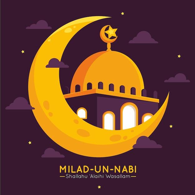 Mesquita de cartões comemorativos milad-un-nabi no céu Vetor grátis