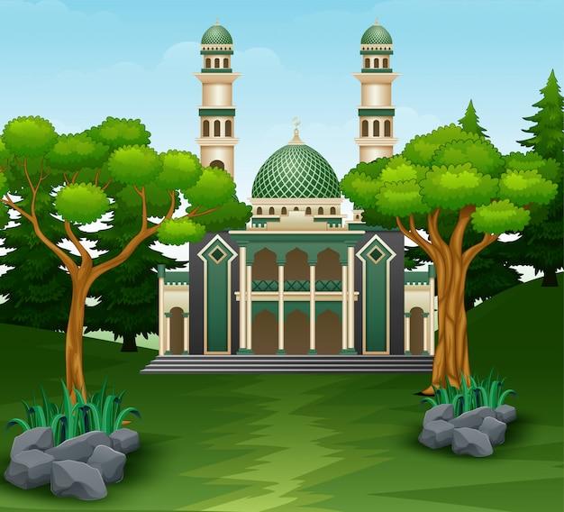Mesquita de construção no fundo da floresta Vetor Premium