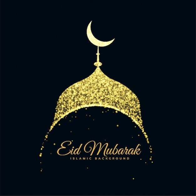 Mesquita de glitter eid mubarak fundo Vetor grátis