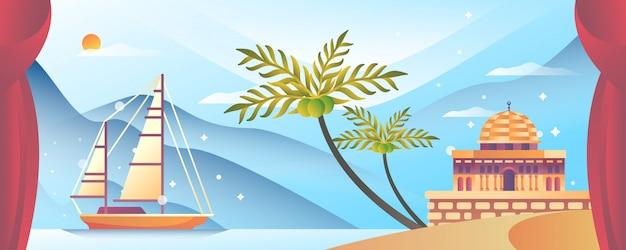 Mesquita e navio na praia islâmica ilustração Vetor Premium