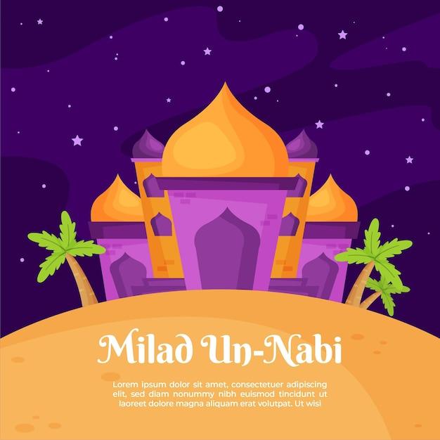 Mesquita e palmeiras de cartão comemorativo milad-un-nabi Vetor grátis