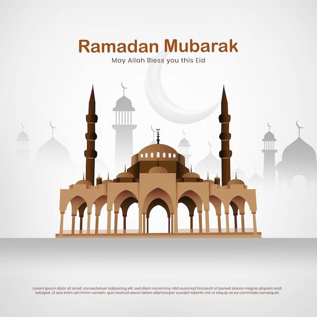 Mesquita eid mubarak vector Vetor Premium