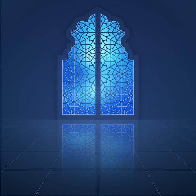 Mesquita interior dooor com padrão árabe Vetor Premium