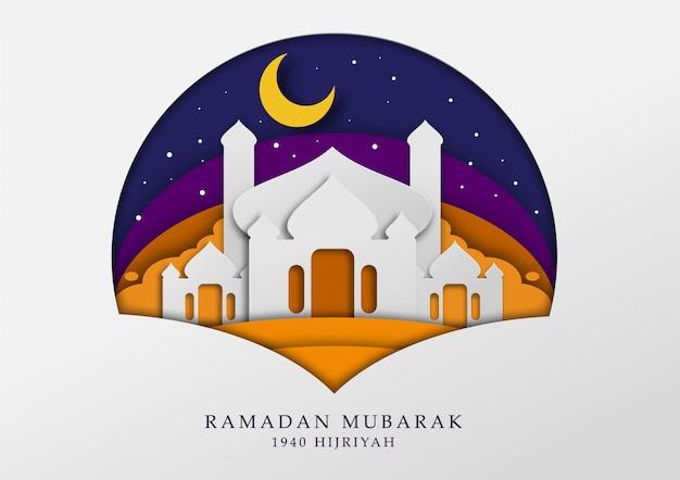 Mesquita masjid ilustração papercut para mês ramadan e papel de parede Vetor Premium