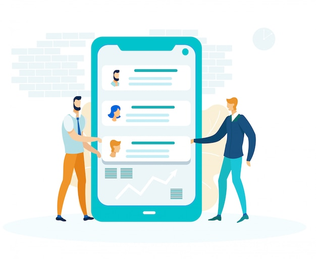 Messaging app development flat Vetor Premium