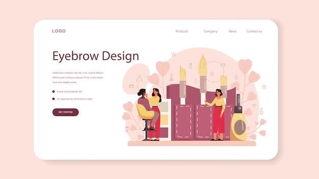 Mestre de sobrancelhas e banner da web ou página de destino do designer Vetor Premium