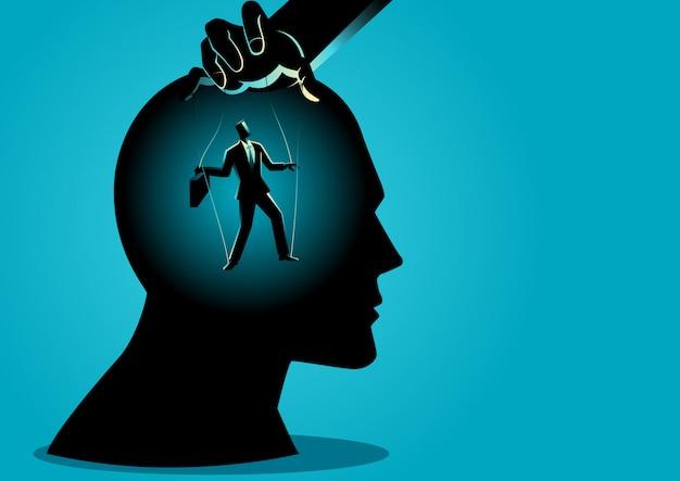 Mestre dos fantoches controla a mente Vetor Premium