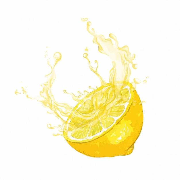Metade da fruta limão com respingo de suco Vetor Premium