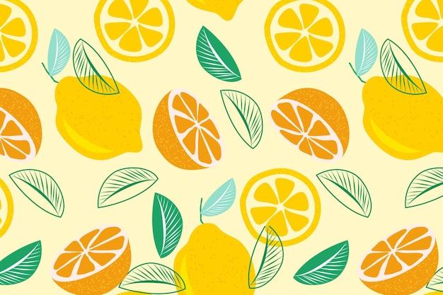 Metades de frutas cítricas sem costura padrão Vetor Premium