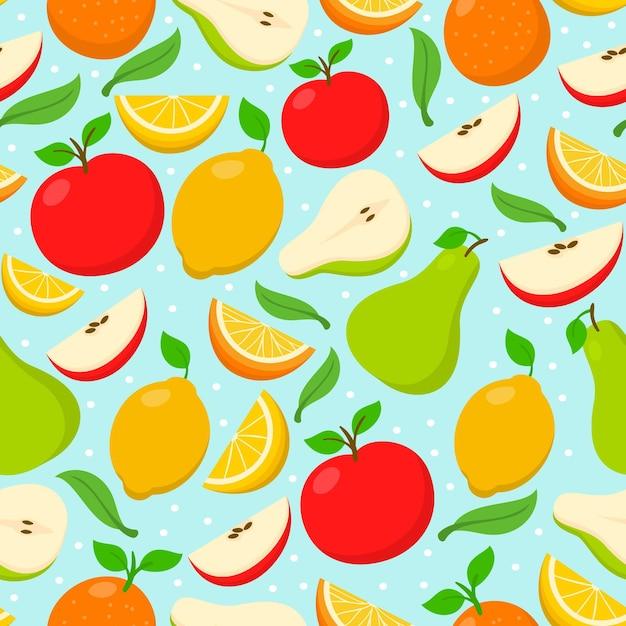Metades de peras e frutas cítricas sem costura padrão Vetor grátis