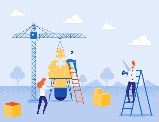 Metáfora construindo pátio para criar idéia e equipe Vetor Premium