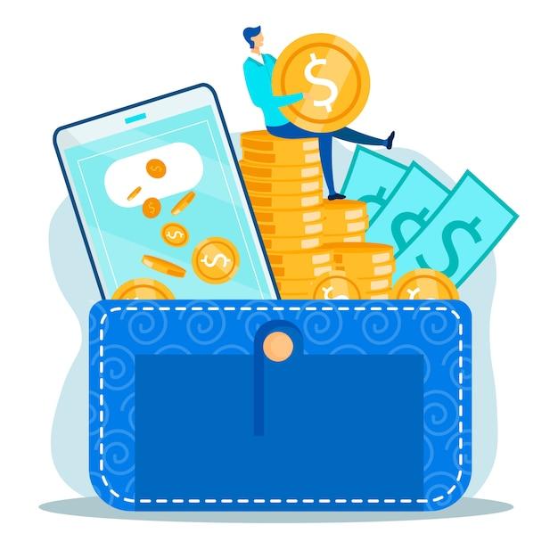 Metáfora da administração de dinheiro em transações financeiras Vetor Premium