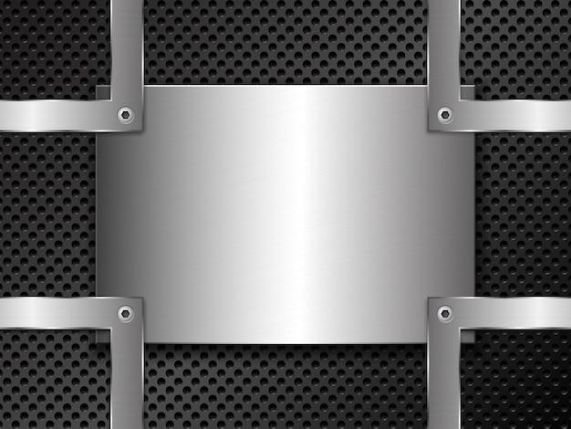 Metal com perfuração e chapa de aço polido fixada com parafusos Vetor Premium