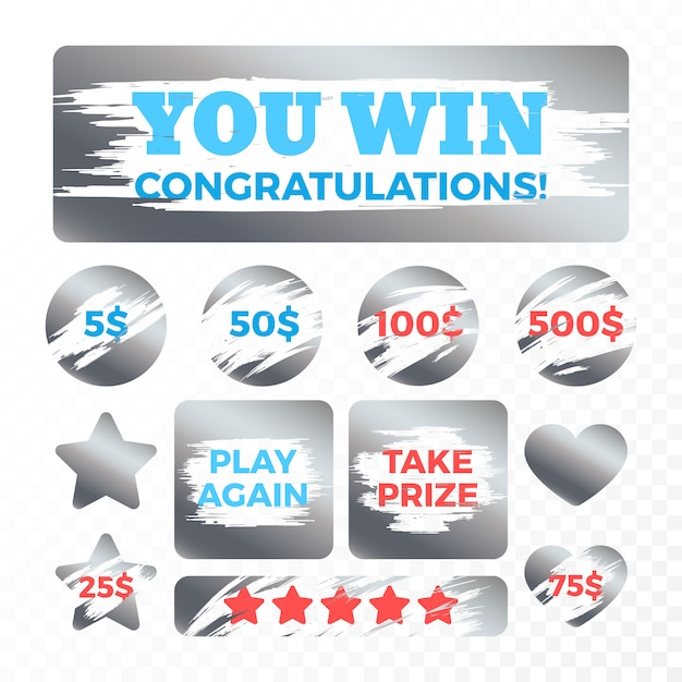 Metal que risca marcas para o jogo do vetor dos bilhetes de lotaria. prêmio e recompensa na ilustração de loteria Vetor Premium