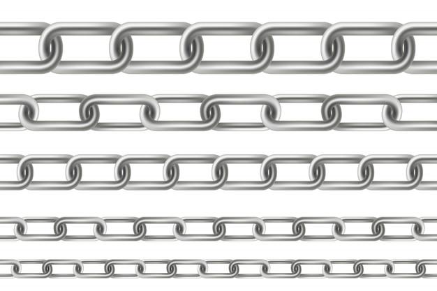 Metálico balançando corrente elos de metal sem costura. Vetor Premium