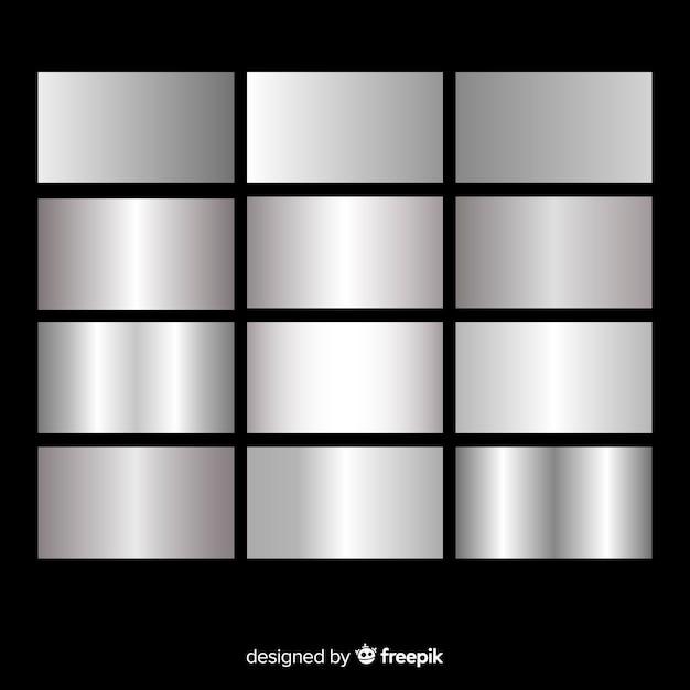 Metallic texture silver gradient set Vetor grátis