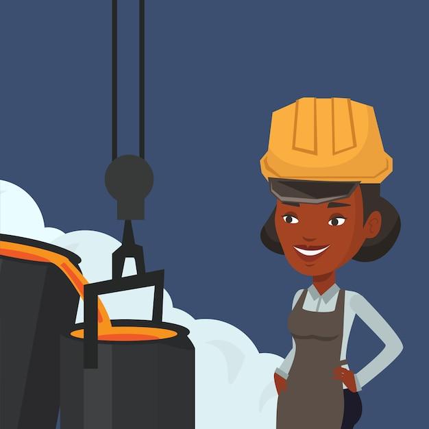 Metalúrgico no capacete de segurança no trabalho na fundição. Vetor Premium