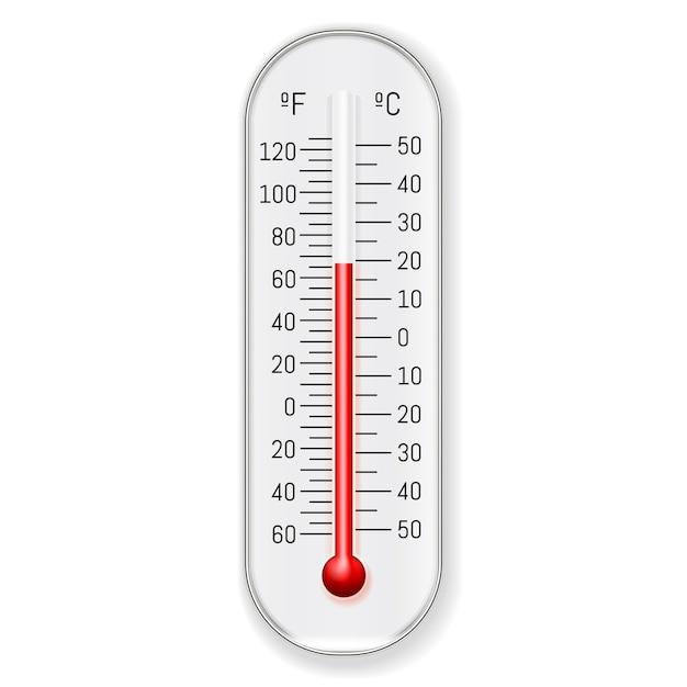 Meteorologia termômetro celsius fahrenheit realista Vetor grátis