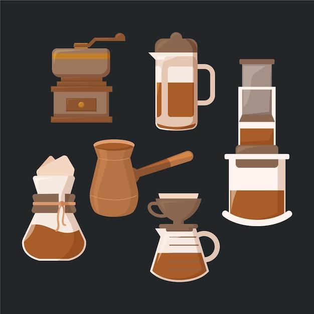 Métodos de fabricação de café Vetor grátis