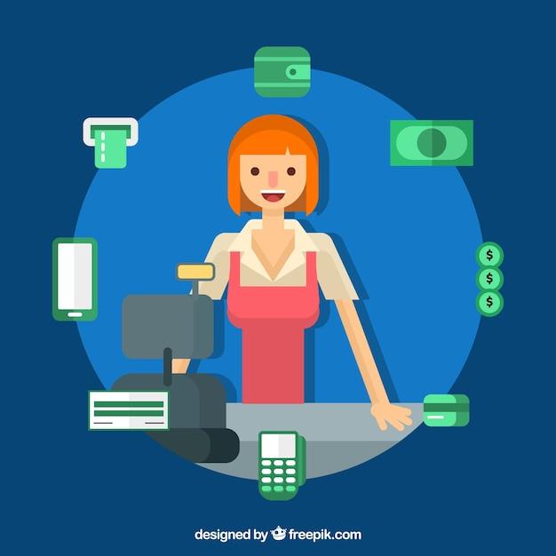 Métodos de pagamento e mulher sorridente Vetor grátis