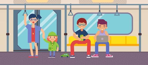 Metro com design plano de pessoas Vetor Premium