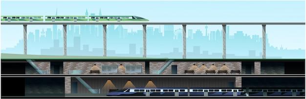 Metrô e nova cidade moderna Vetor Premium