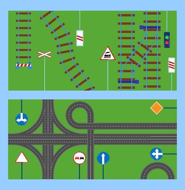 Metrô, ferrovia com esquema de linhas subterrâneas, ilustrações de sinais de precaução de maneira. Vetor Premium