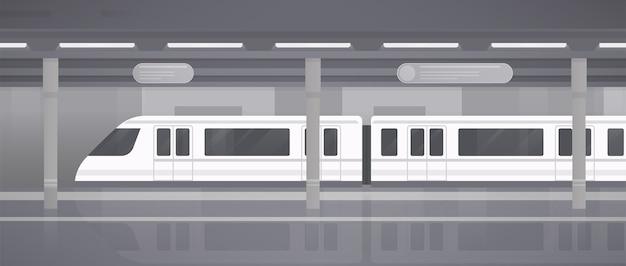 Metrô, plataforma subterrânea com trem moderno. ilustração em vetor monocromático horizontal em estilo simples. Vetor Premium