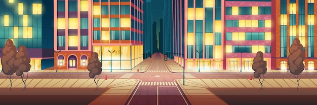 Metrópole da noite iluminada, desenho de rua vazia Vetor grátis