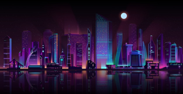 Metrópole noite paisagem neon vetor de desenhos animados Vetor grátis
