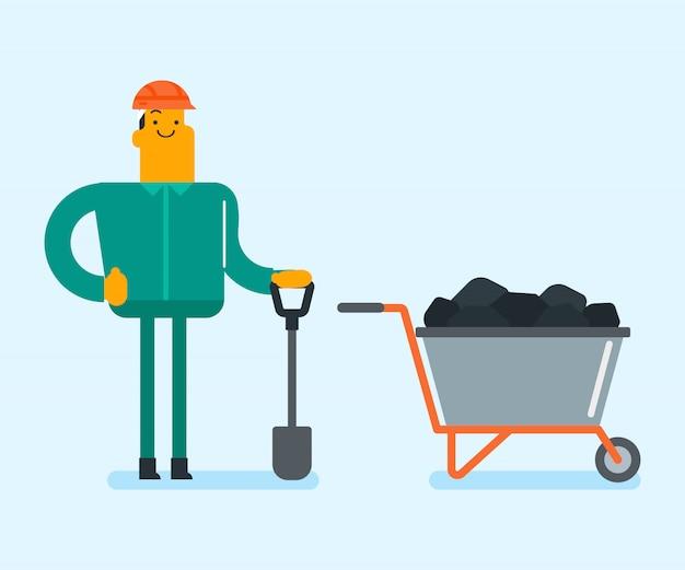 Meu trabalhador trabalhando com pá na mina de carvão. Vetor Premium
