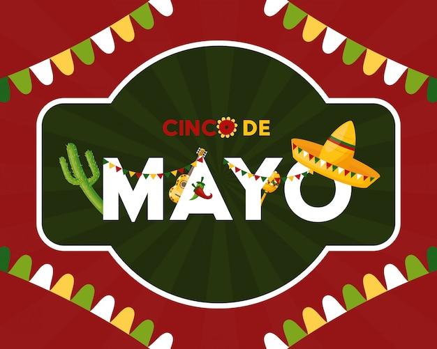 México cinco de maio méxico cinco de maio em uma ilustração decorada Vetor grátis