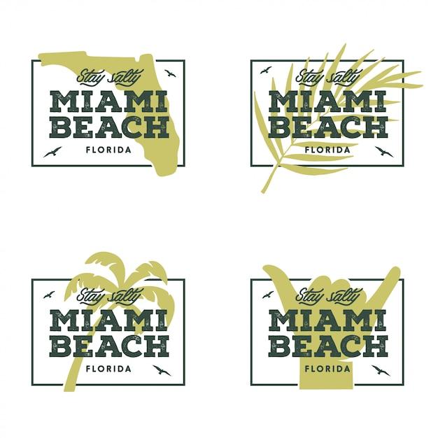 Miami beach florida. ilustração em vetor vintage. Vetor Premium