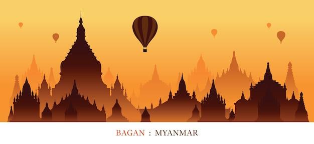 Mianmar marcos silhueta do nascer do sol Vetor Premium