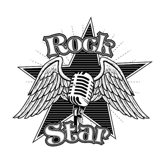 Mic criativo com ilustração vetorial de asas. tatuagem retrô monocromática para estrela do rock com letras Vetor grátis