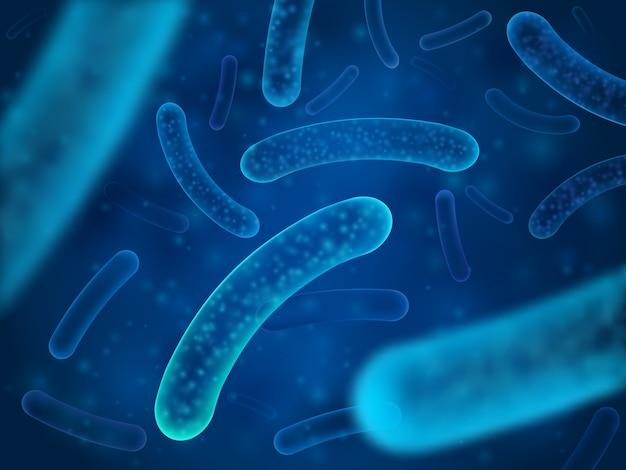 Micro bactéria e organismos bacterianos terapêuticos. Vetor Premium