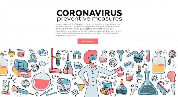 Microbiologista cientista pesquisa coronavírus cov no laboratório cercado por vírus, equipamento médico científico. campanha de conscientização. tempalte para a página de destino. ilustração plana. Vetor Premium