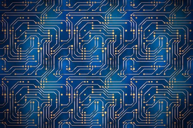 Microchip de computador complicado com contatos dourados na placa-mãe azul, fundo horizontal techno Vetor Premium