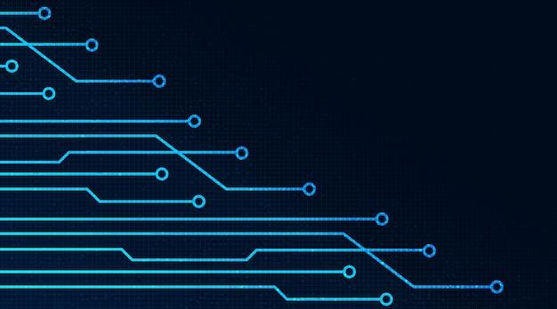 Microchip digital em tecnologia de fundo hitech digital concept design Vetor Premium