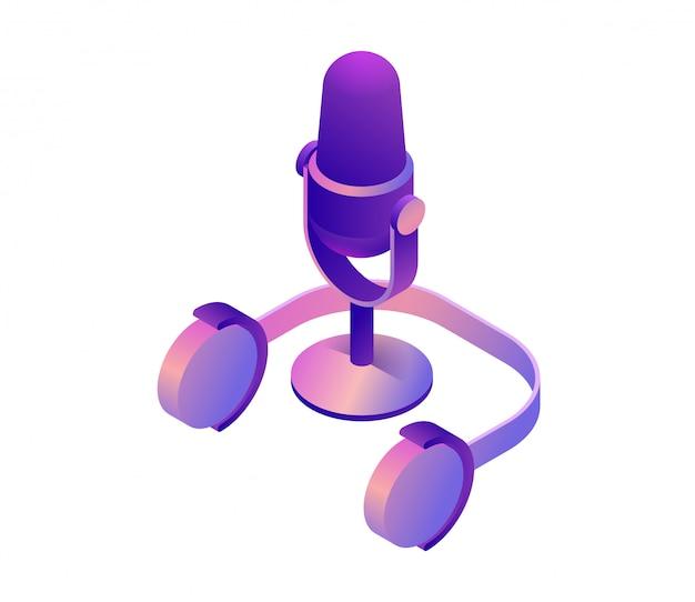 Microfone 3d isométrico vector Vetor Premium